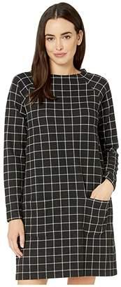 Mod-o-doc Windowpane Plaid Knit Raglan Sleeve Funnel Neck Dress