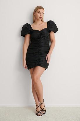 NA-KD Puffy Sleeve Draped Mini Dress