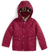 Burberry Toddler Girl's 'Jamie' Quilted Hooded Puffer Jacket