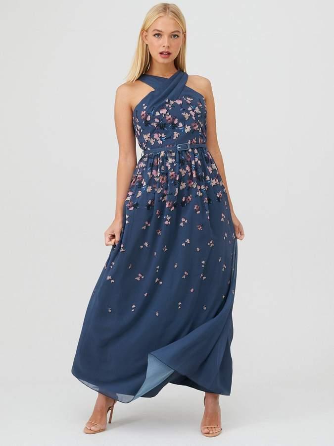 Little Mistress Floral Print Belted Maxi Dress - Teal