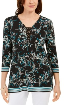 JM Collection Printed O-Ring Tunic, Created For Macy's