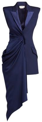 Alexander McQueen Sleeveless Draped Asymmetric Wool & Silk Jacket