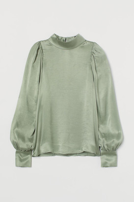 H&M Cupro-blend Blouse - Green