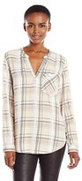 Calvin Klein Jeans Women's Plaid Long Sleeve Henley Popover Top