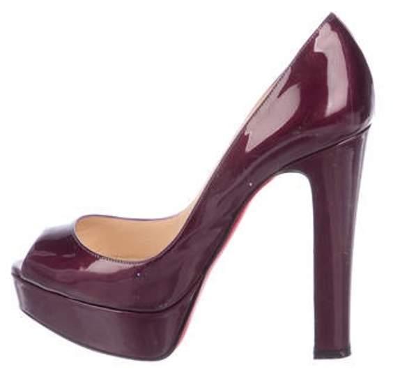 2d9f08d17f3 Patent Leather Peep-Toe Pumps Plum Patent Leather Peep-Toe Pumps