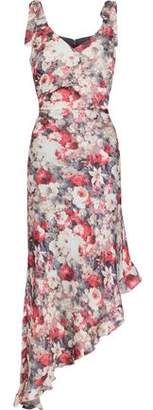Mikael Aghal Asymmetric Floral-print Crepe De Chine Midi Dress