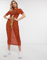 Nicce midi dress with front logo and drawstring cut out in neon graphic print