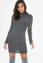 Missguided Petite Black Floral High Neck Jersey Dress, Black