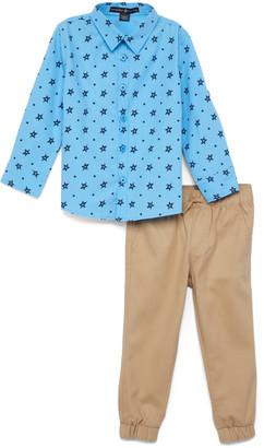 Beverly Hills Polo Club Boys' Casual Pants UNIVERSITY - University Blue Star Button-Up & Khaki Cargo Joggers - Toddler & Boys