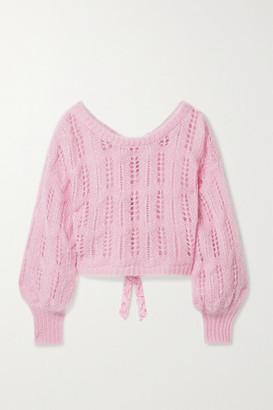 LoveShackFancy Eugenia Cropped Bow-embellished Metallic Open-knit Sweater - Pink