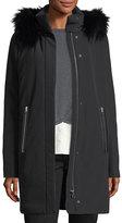 Derek Lam 10 Crosby Hooded Zip-Front Stretch-Down Coat W/ Fox Fur Trim