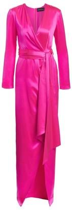 Brandon Maxwell Silk Satin Belted Wrap Gown