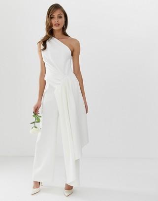 Asos Edition EDITION one shoulder drape side jumpsuit-White