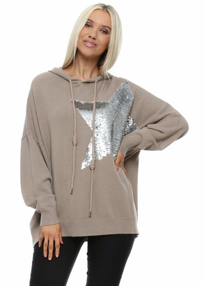 Moewy Taupe Sequinned Star Hoodie Jumper Taupe One Size
