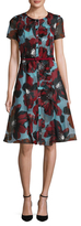 Carolina Herrera Silk Floral Printed Flare Dress