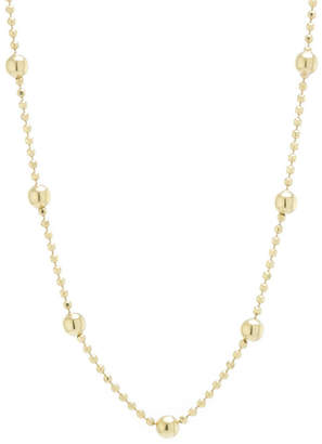 Silver Treasures Station Chain Bead Choker 24K Gold Over Silver 12 Inch Bead Choker Necklace