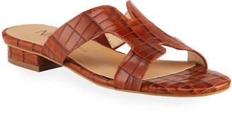 Neiman Marcus Belita Croc-Print Leather Sandals