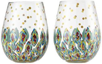 Enesco Lolita Floral Stemless Wine Glass - Set of 2