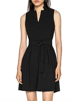 Cue Crepe Belted Dress