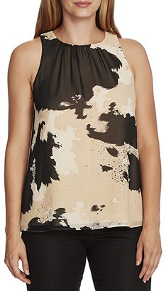 Vince Camuto Sleeveless Abstract Cowhide Chiffon Blouse (Light Stone) Women's Clothing