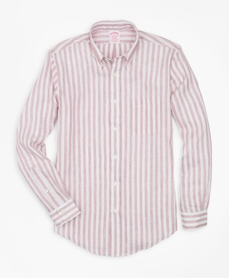 Brooks Brothers Madison Fit Stripe Irish Linen Sport Shirt
