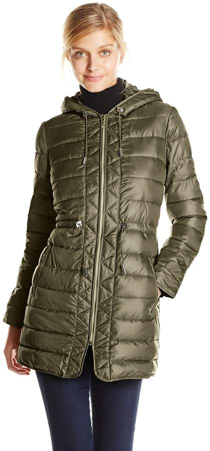 Kenneth Cole New York Women's Lightweight Packable Jacket with Cinch Waist