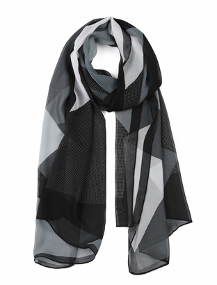 "uxcell Chiffon Shawls Long Geometric Style Beach Scarf Silk Scarves for Women Black/Gray 63""x19.6"""