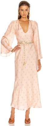 Rixo Nadia Midi Dress in Buttercup Peach & Cream | FWRD