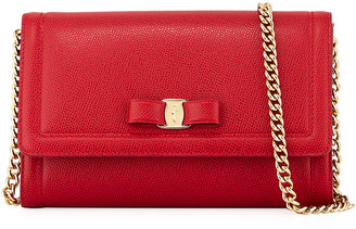 Salvatore Ferragamo Miss Vara Mini Crossbody Clutch Bag, Red
