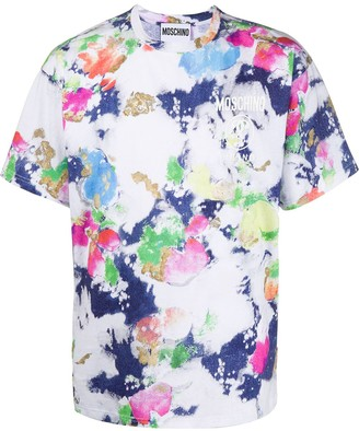 Moschino colour splatter print T-shirt