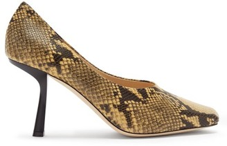 Jimmy Choo Marcela 85 Square-toe Python-effect Leather Pumps - Black Beige