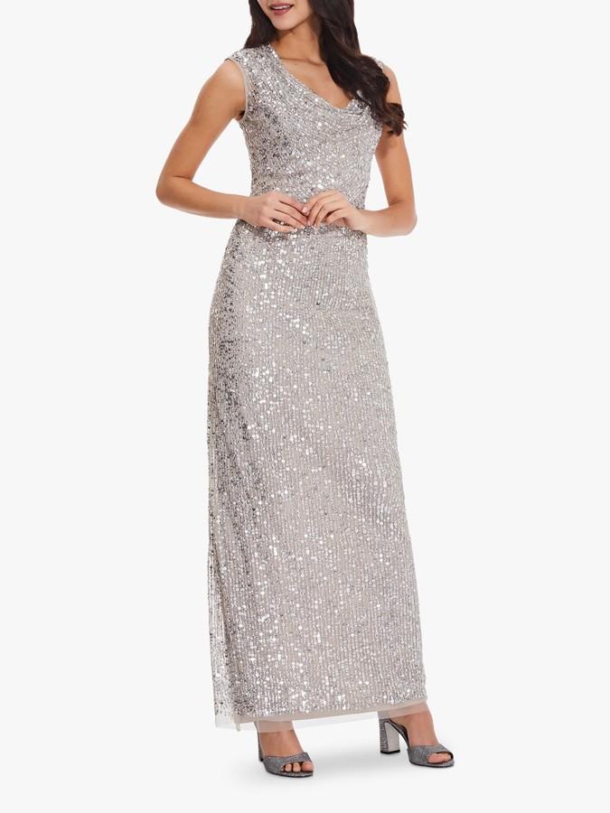Adrianna Papell Long Beaded Column Dress, Silver
