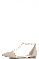 Quiz Nude And White Studded T-Bar Pumps