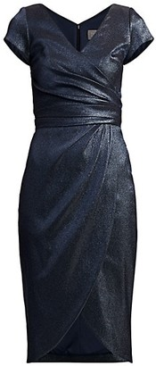 Theia Metallic Surplice Dress