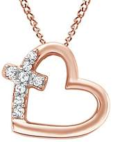 Jewel Zone US Natural Diamond Accent Heart Cross Pendant in 10K Solid Gold