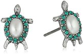 Marc Jacobs Turtle Charms Cream/Antique Silver Stud Earrings