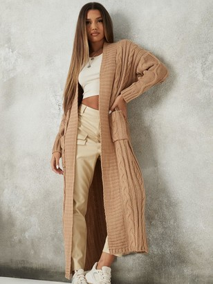 Missguided Maxi Cable Cardigan - Stone