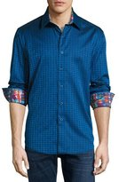 Robert Graham 8-Bit Space Jacquard Sport Shirt, Navy