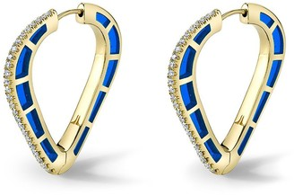 Andy Lif 18kt gold diamond Cobra hoop earrings