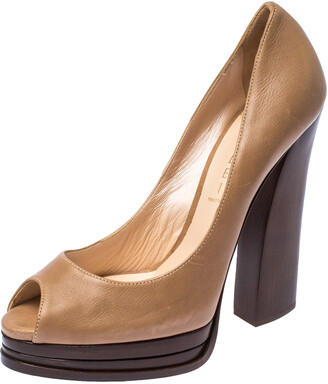 Casadei Dark Beige Leather Peep Toe Wooden Heel Platform Pumps Size 38.5