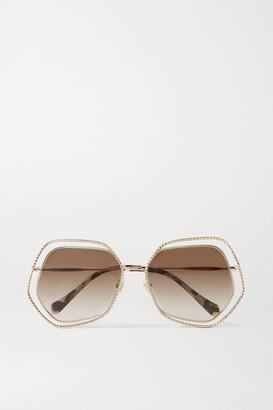 Miu Miu Oversized Hexagon-frame Gold-tone Sunglasses