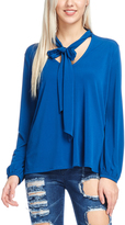 Bellino Teal Tie-Neck Top