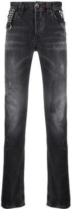 Philipp Plein Paint Splash Effect Jeans