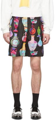 Versace Black and Multicolor Vase Shorts