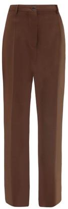 Jil Sander High-rise Wool-twill Trousers - Brown