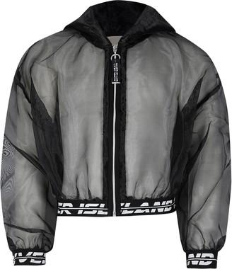 River Island Girls Black RI Active organza bomber jacket