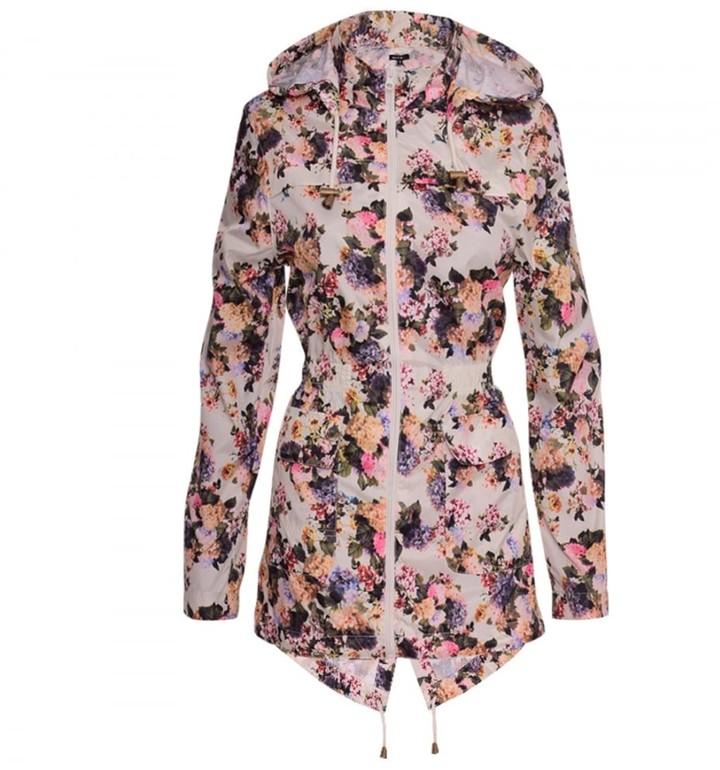 Thumbnail for your product : Brave Soul Women's Designer Festival Rain Mac Trench Waterproof Lightweight Coat UK 14 / US 12/ AUS 16/ EU 42/ Large Floral