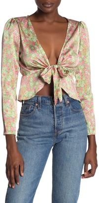 Dress Forum Flower Glow Satin Tie Front Blouse