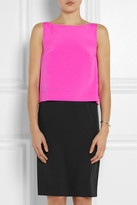 DKNY Color-block stretch-silk and crepe dress