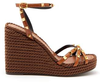 Valentino Rockstud Leather Wedge Sandals - Womens - Tan